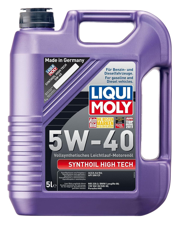 Liqui Moly 1306 Synthoil High Tech 5W-40 - Aceite antifricción sintético para motores de automóviles de 4 tiempos (1 L): Amazon.es: Coche y moto