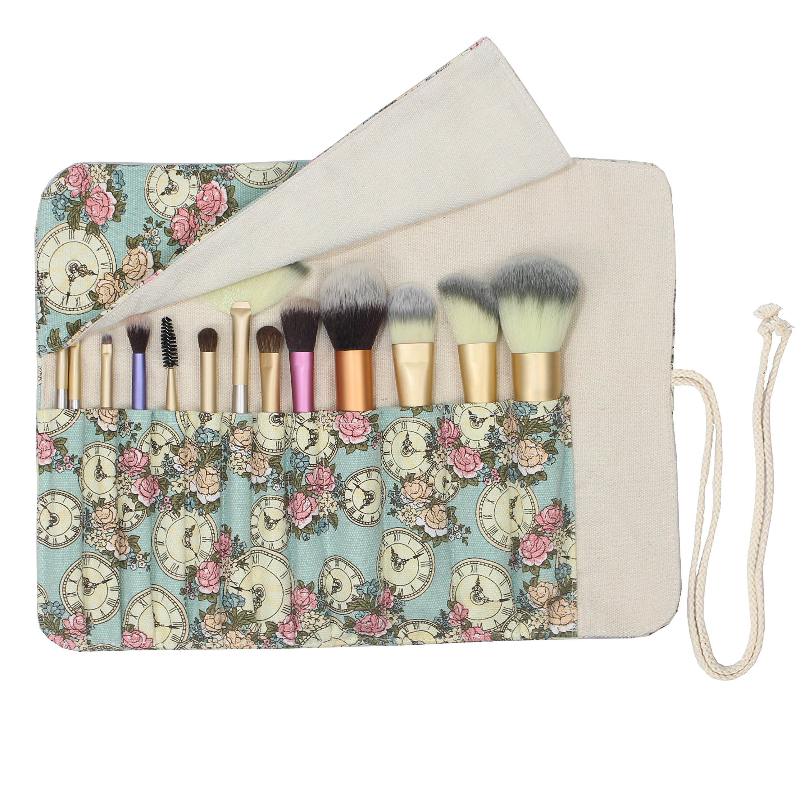 d02d5de6ae97 12 Pockets Makeup Brushes Rolling Case Pouch Holder Cosmetic Bag Organizer  Case with Belt Strap