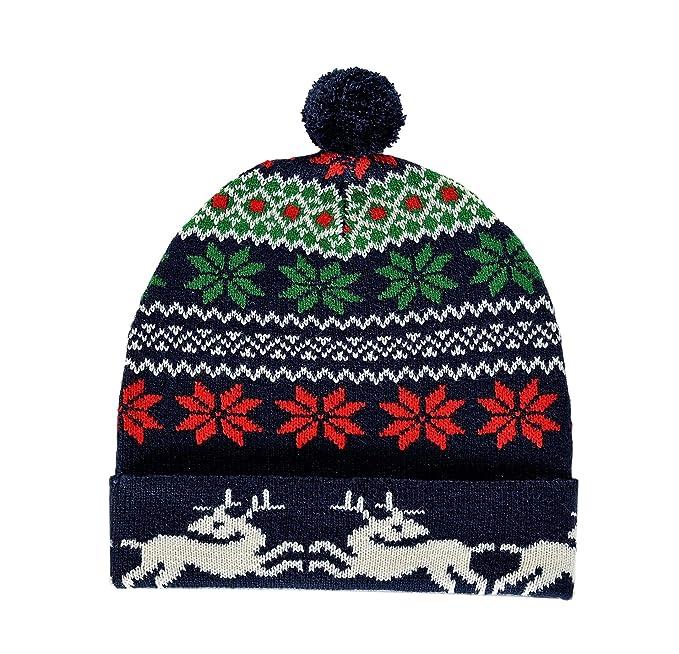 Amazon.com  RWB Abstract Fair Isle Pattern Ugly Christmas Beanie One ... 6242c7b56b46