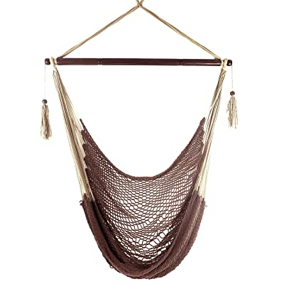 Krazy Outdoors Mayan Hammock Chair - Large Cotton Rope Hanging Chair Swing with Wood Bar - Comfortable, Lightweight - for Indoor & Outdoor Porch, Yard, Patio and Bedroom (Mocha Brown): Garden & Outdoor