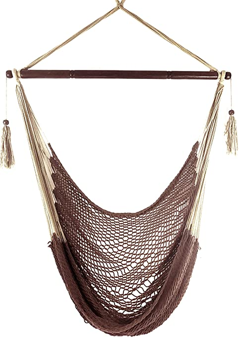 Krazy Outdoors Mayan Hammock Chair Large Cotton Rope Hanging Chair Swing With Wood Bar Comfortable Lightweight For Indoor Outdoor Porch Yard Patio And Bedroom Mocha Brown Garden