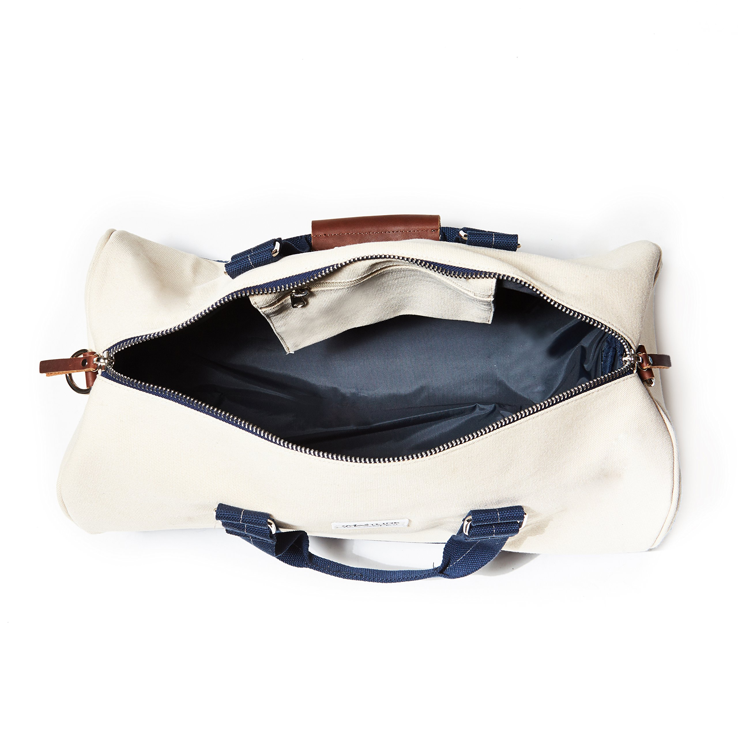THE MASTLINE Co. | Hudson Barrel Duffel Travel Bag | Canvas & Leather (Natural White) by THE MASTLINE Co. (Image #2)