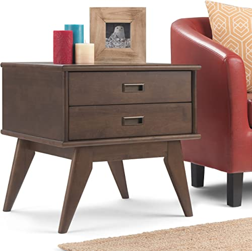 Simpli Home Draper Solid Hardwood 22 inch wide Rectangle Mid Century Modern End Side Table in Walnut Brown, for the Living Room and Bedroom
