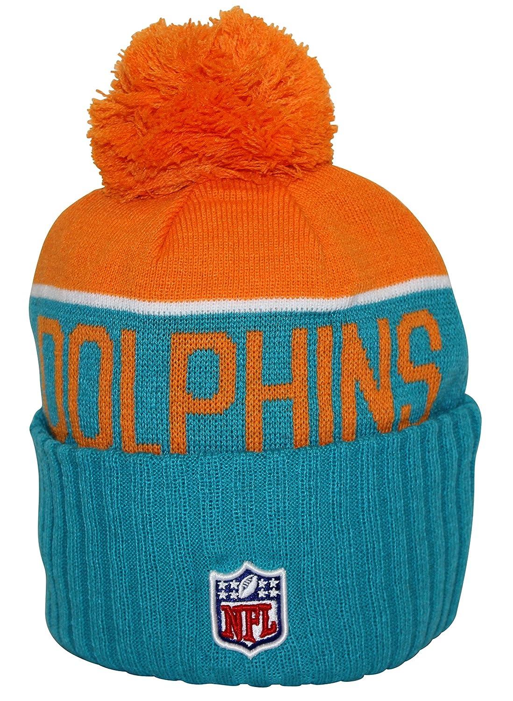 hot sale online 9f5b8 384c2 Amazon.com  New Era NFL15 On-Field Sport Knit Miami Dolphins Teal Orange Pom   Clothing