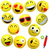 """12 Emoji Beach Balls Inflatable 12"""" with Air Pump - Pool Birthday Party Toys"""