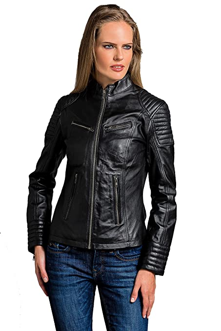 Urban Leather Corto Biker - Chaqueta de piel, Mujer, negro, large
