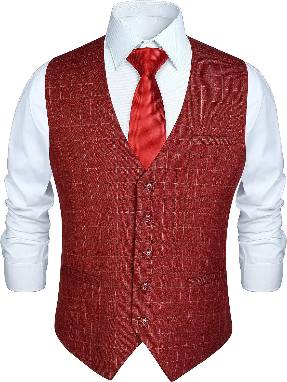HISDERN Mens Formal Wedding Party Waistcoat Cotton Plaid Dress Suit Vest