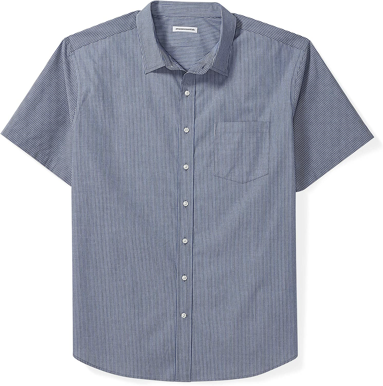 Essentials Men's Big & Tall Short-Sleeve Stripe Shirt fit by DXL: Clothing