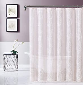 Dainty Home Stella Embroidered Fabric Shower Curtain, Blush/White