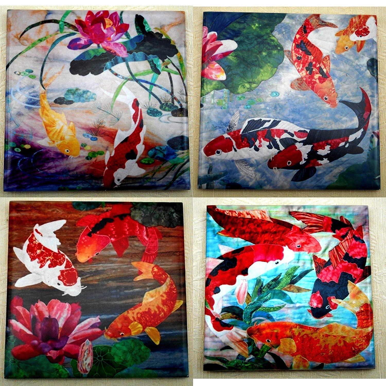 Set of 4 Decorative Ceramic Tile Coasters, Koi Fish & Lotus Flower Art, Good Luck Housewarming Gift