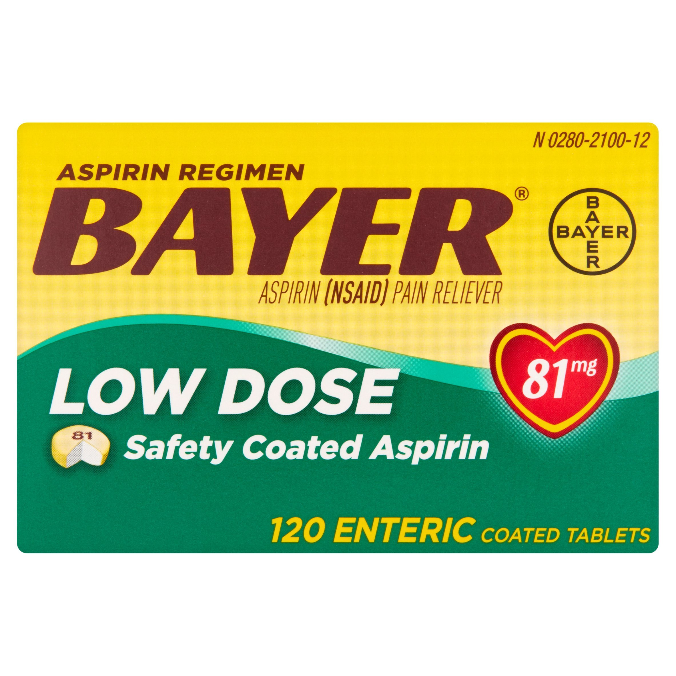 Bayer Aspirin Regimen Pain Reliever Low Dose Enteric Coated Tablets , 120 CT (Pack of 6) by Bayer