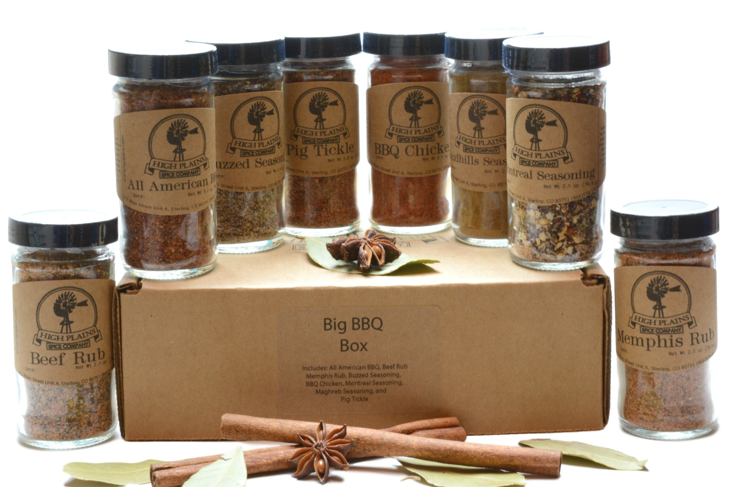 BBQ Rub and Spices Gift Set of 8 ~ Gift Set by High Plains Spice Company ~ Gourmet Meat and Veggie Spice Blends & Rubs For Beef, Chicken, Veggies & All Recipes ~ Spice Blends Handcrafted In Colorado