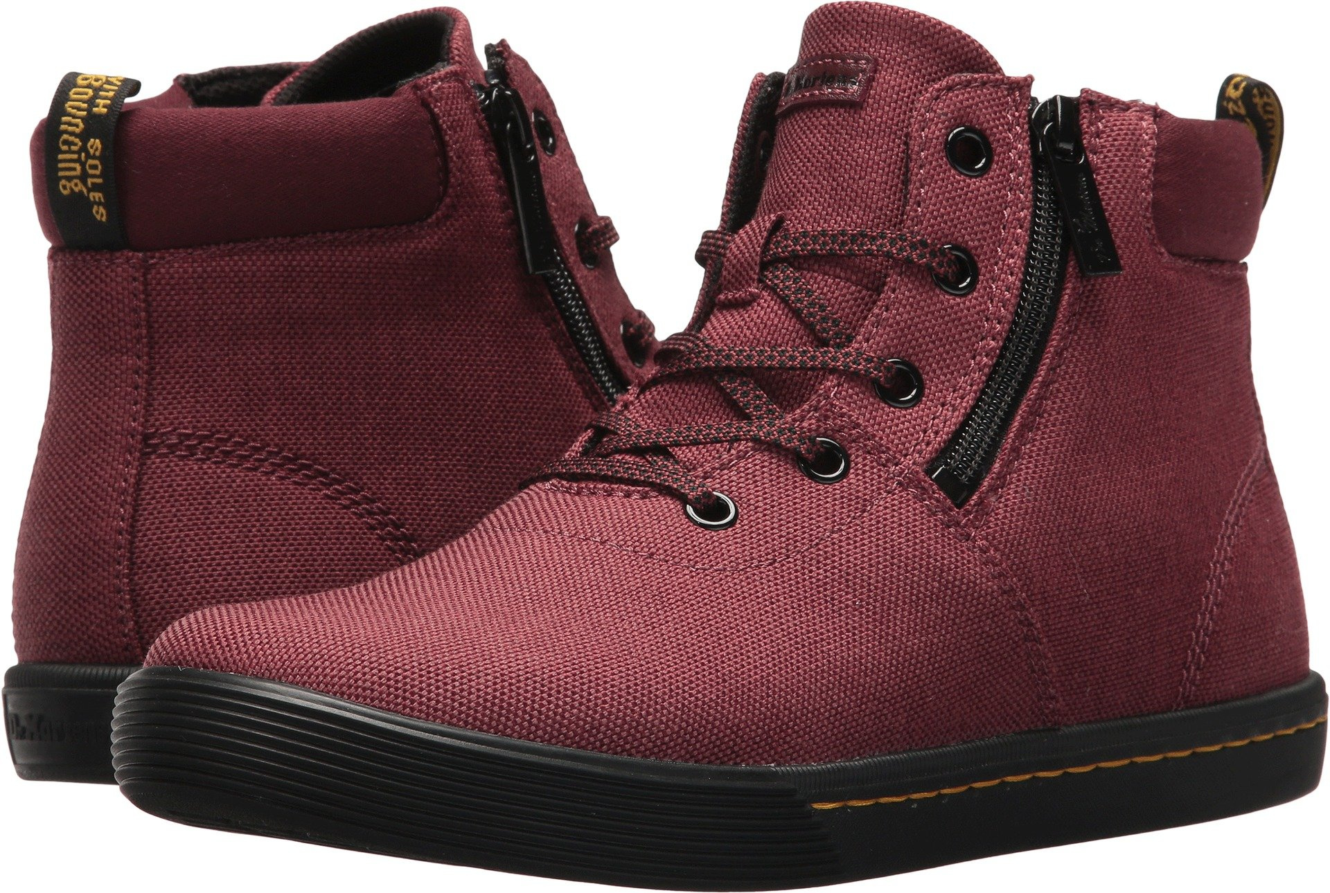 Dr. Martens Women's Maegley Fashion Boot, Cherry Red Woven Textile+Fine Canvas, 7 Medium UK (9 US)