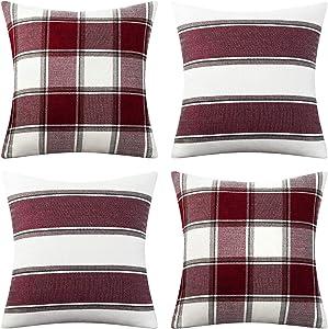 AmHoo Pack of 4 Farmhouse Classic Throw Pillow Covers Square Cushion Cover Plaid Stripe Checker Decoration Euro Pillowcase Set with Hidden Zipper Red 18x18Inch
