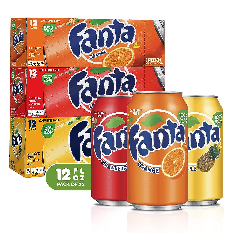 Fanta Soda Soft Drink Variety Pack Bundle, 12 Fl Oz, 36 Pack Bundle, 12 Fl Oz (Pack of 1)