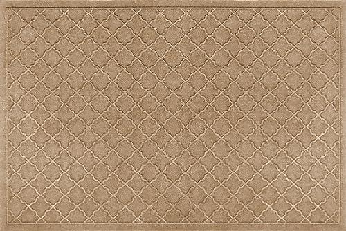 Bungalow Flooring Waterhog Indoor Outdoor Doormat, 4 x 6 , Made in USA, Skid Resistant, Easy to Clean, Catches Water and Debris, Cordova Collection, Khaki Camel