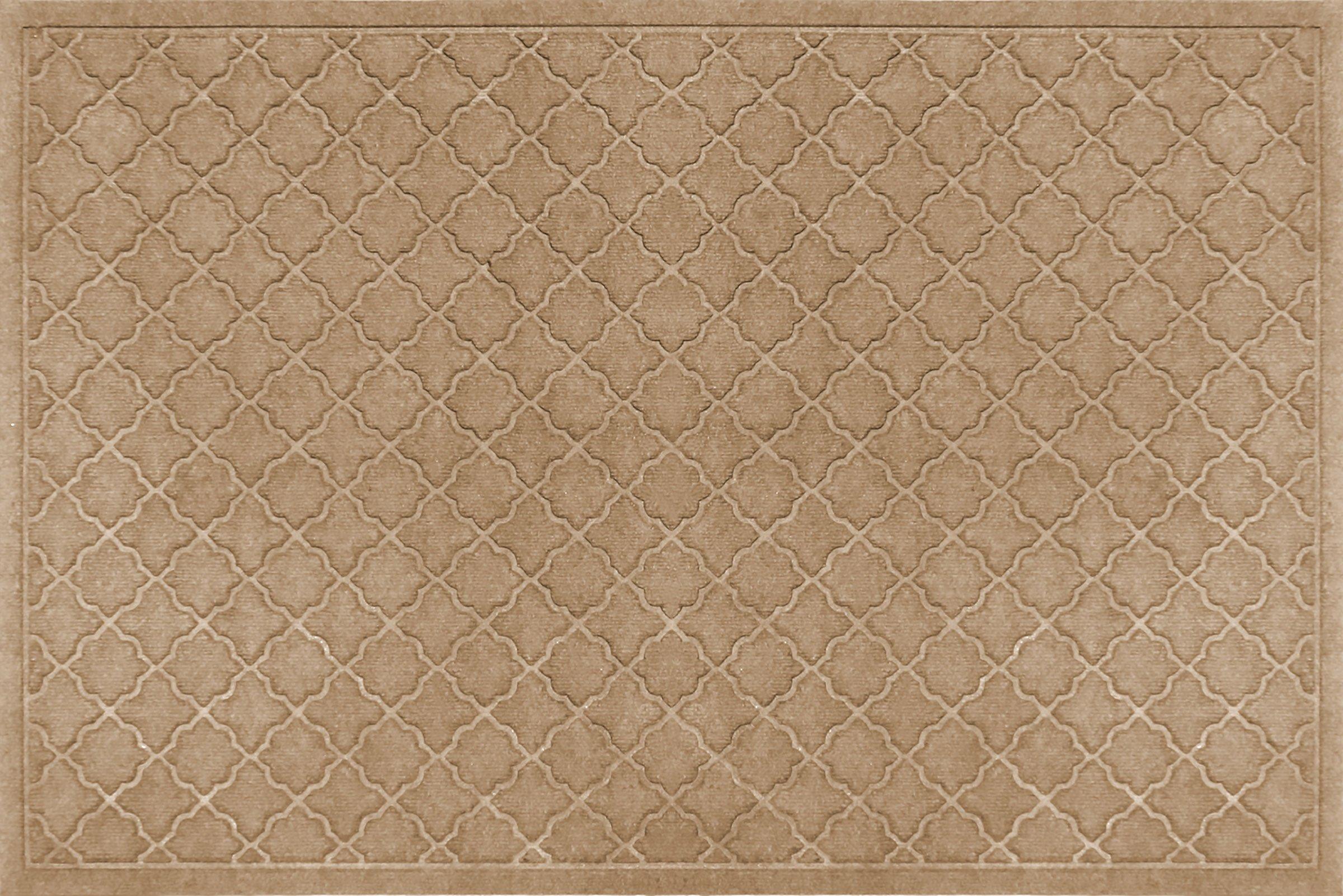 Bungalow Flooring Waterhog Doormat, 3' x 5', Skid Resistant, Easy to Clean, Catches Water and Debris, Cordova Collection, Khaki