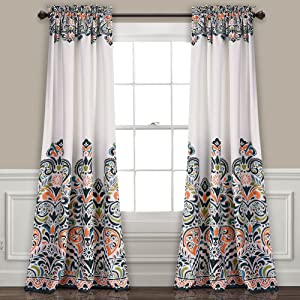 "Lush Decor Clara Curtains Paisley Damask Print Bohemian Style Room Darkening Window Panel Set for Living, Dining, Bedroom (Pair), 84"" x 52"", Navy & Tangerine"