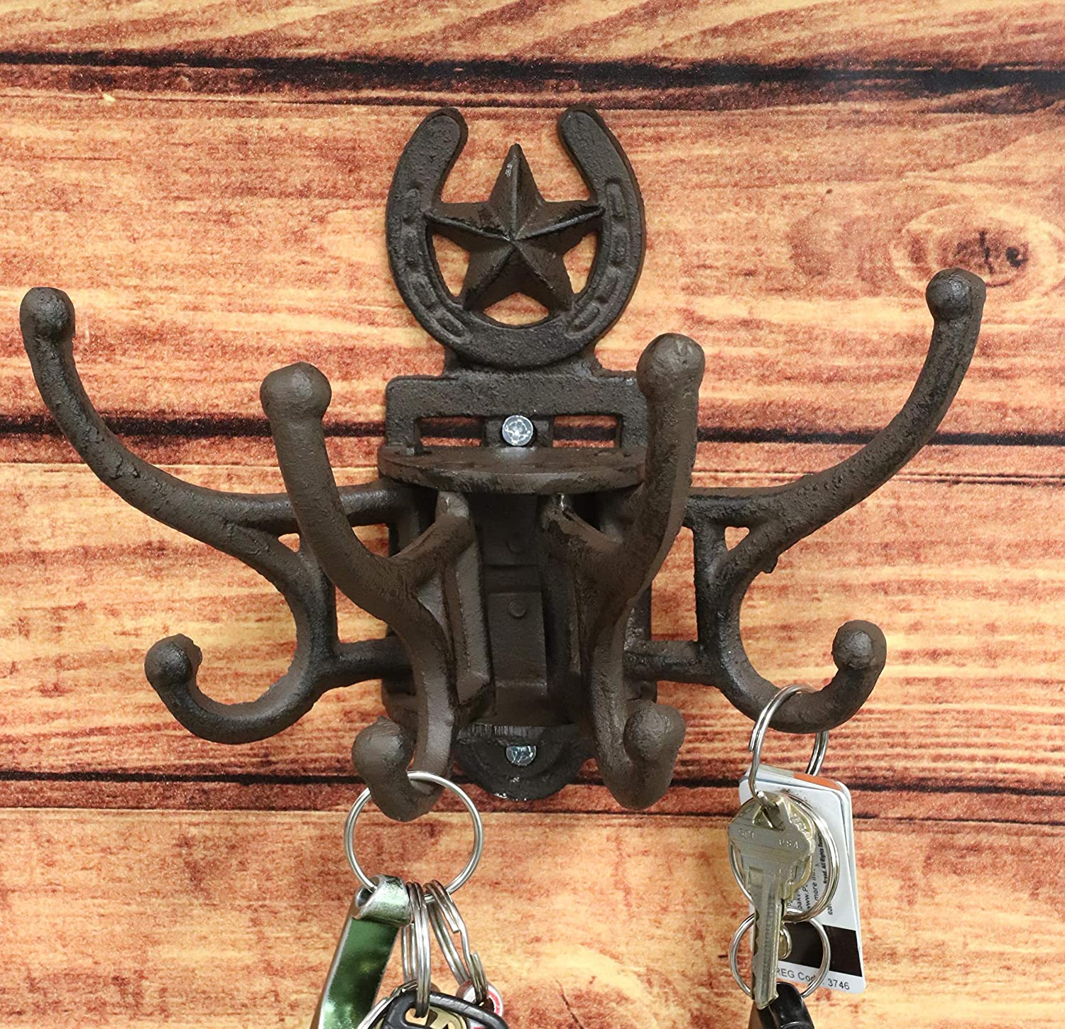 Ebros Cast Iron Rustic Western Lone Star Horseshoe Free Spinning Movable Swivel Hanging Wall Hooks 7