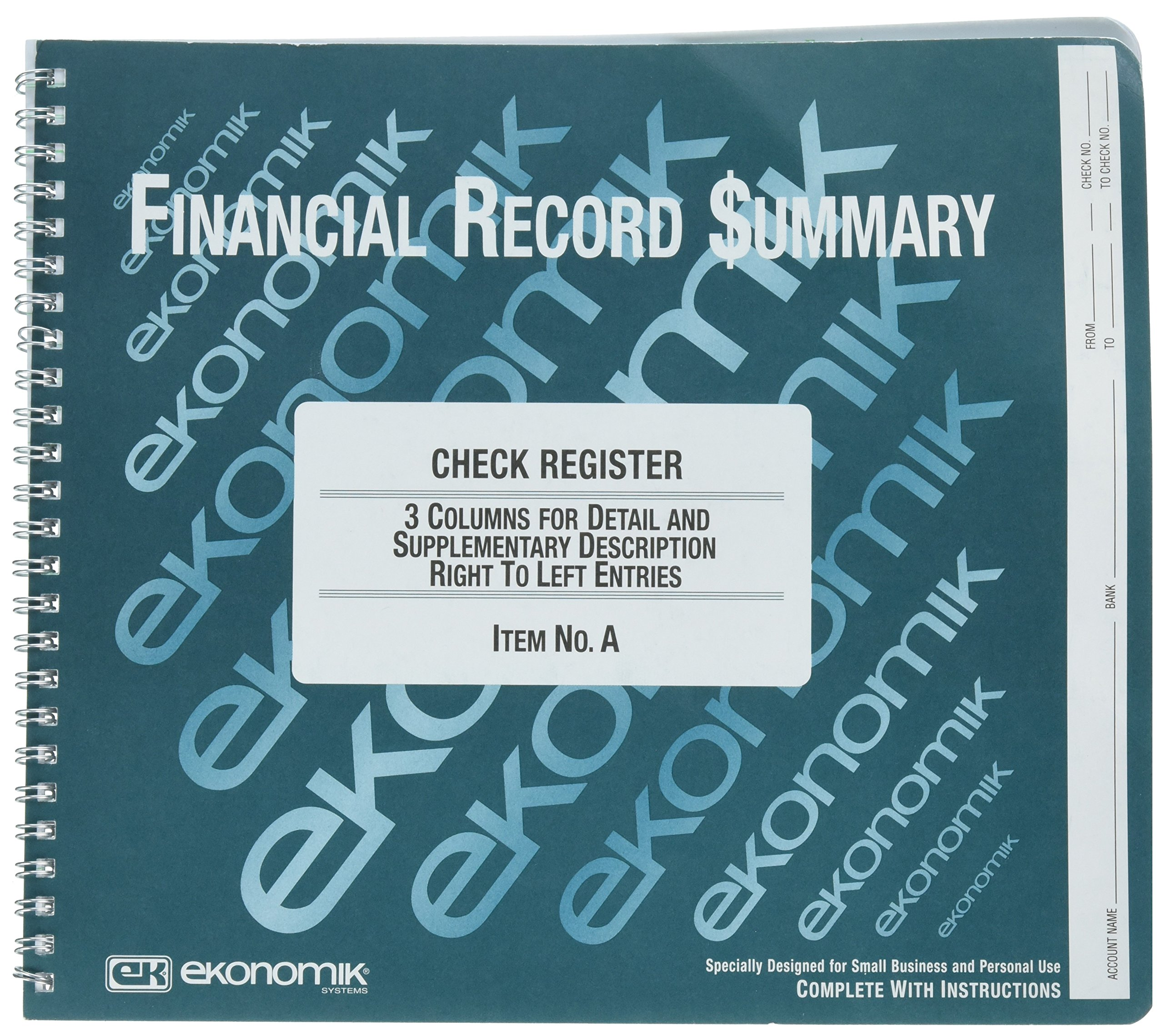 Ekonomik - Wirebound Check Register Accounting System, 8 3/4 x 10, 40-Page Book A (DMi EA by Ekonomik (Image #1)