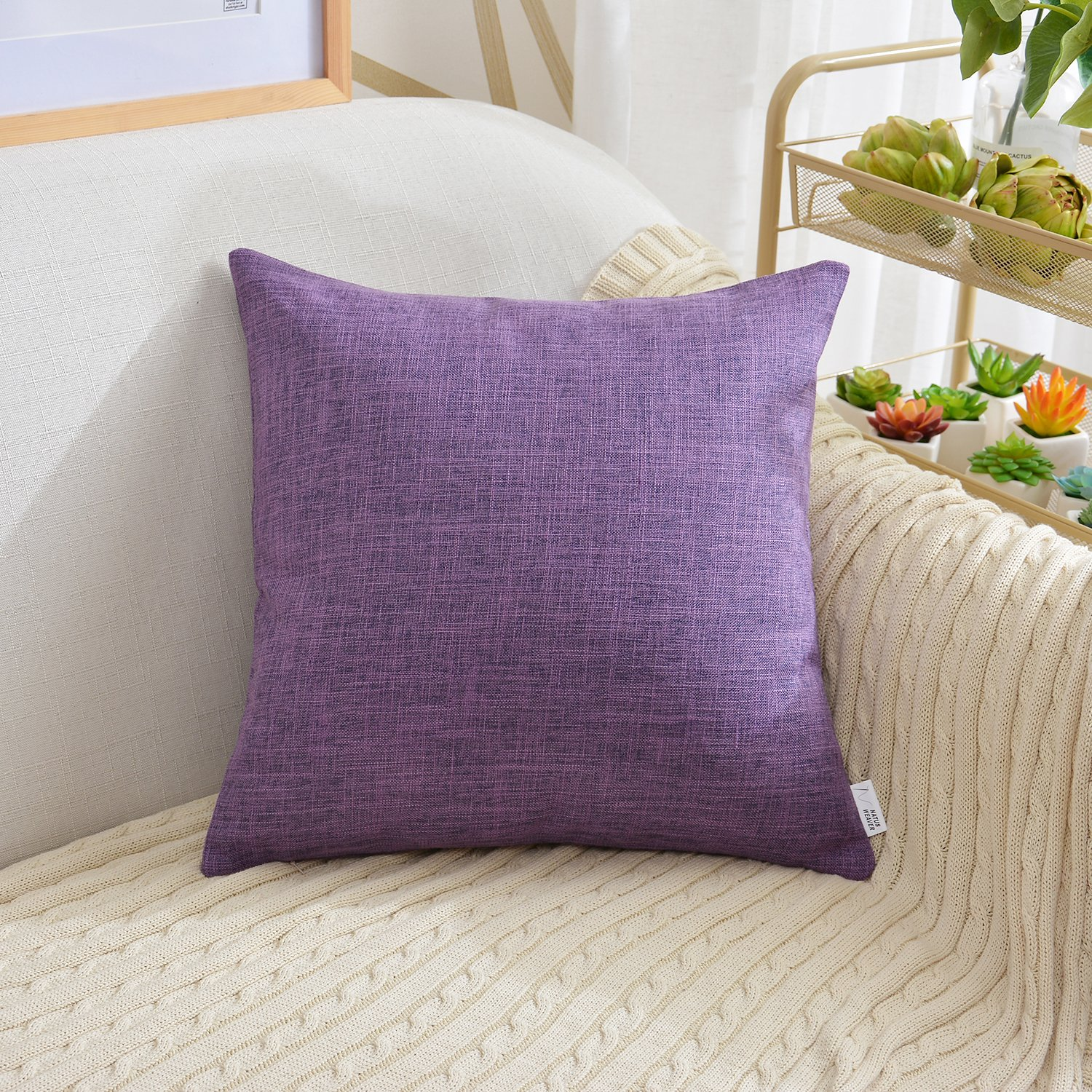 NATUS WEAVER Soft Home Decoration Linen Pillow Cover Throw Cushion Cover Pillowcase Euro Pillow Cases for Bed Kids Chair, 24''x24'', Purple