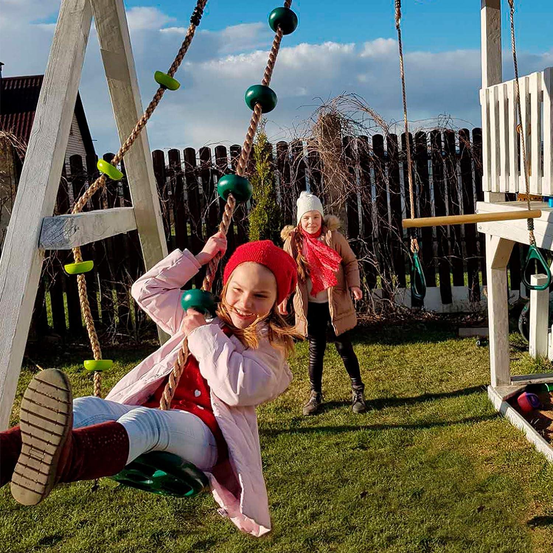 Corda da arrampicata per bambini e adulti Cateam Disc Swing Albero disco dondolo per giardino o linea ninja con kit di cinghie per appendere