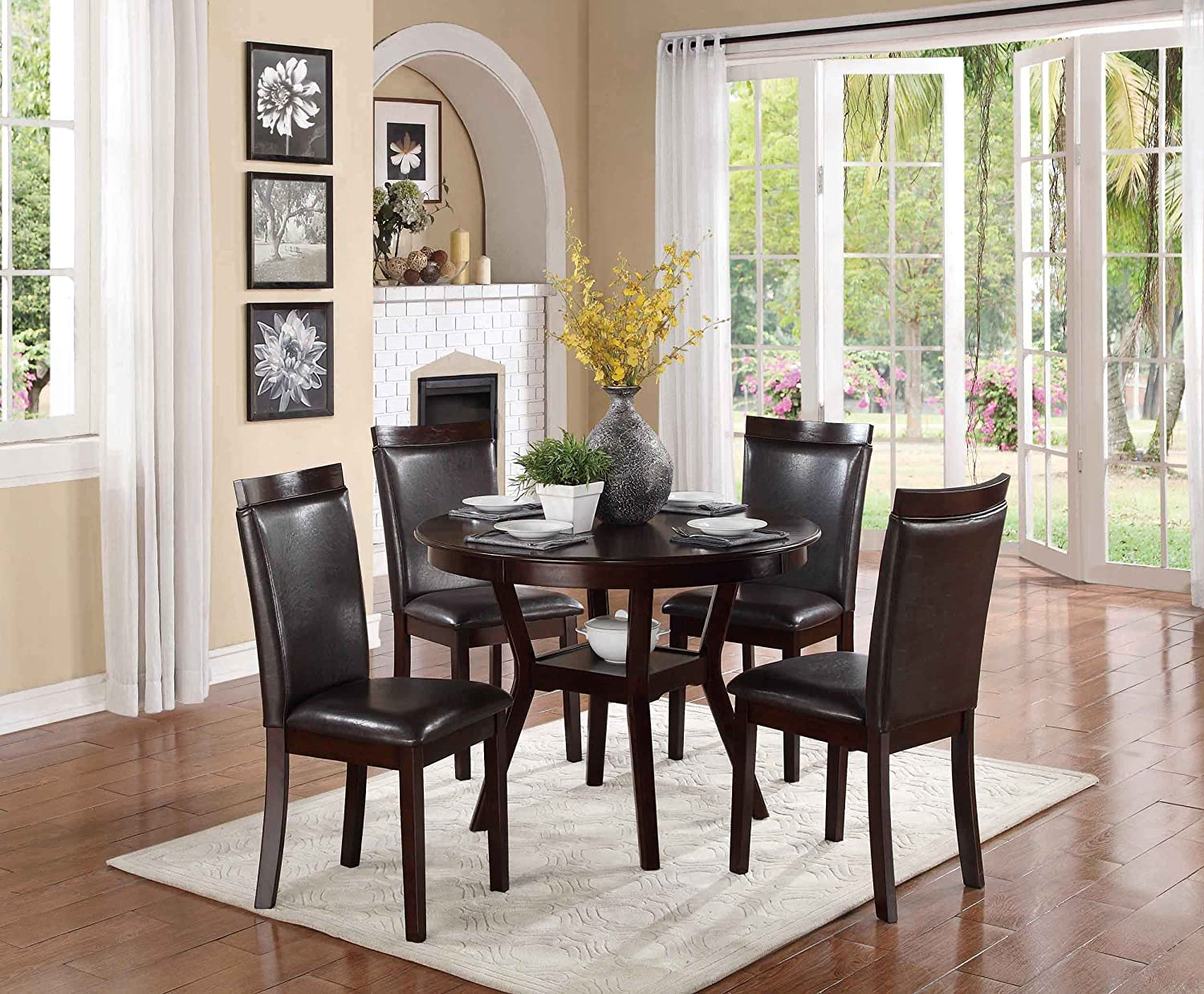 Amazon com homelegance shankmen round 5 piece dining set espresso table chair sets