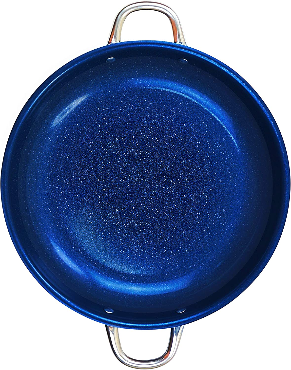 Blue Sapphire Frying Pan,14-Inch Non Stick Induction Base Oven Safe, Dish Washer Safe, Scratch Proof Round Handles For Comfort Grip
