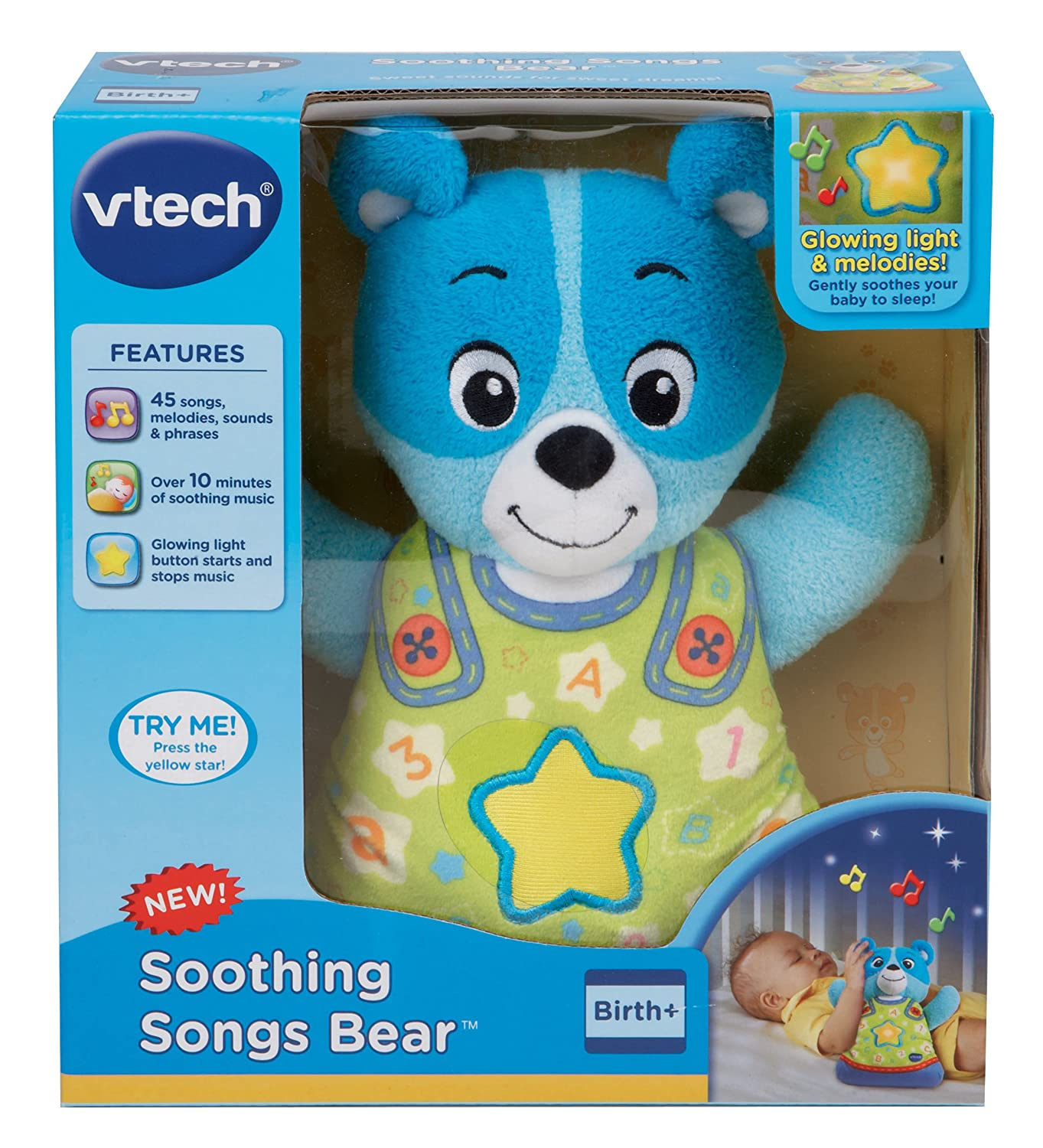 Teddy Bear Toy Doll Bedtime Blue VTech Baby Soothing Song ...