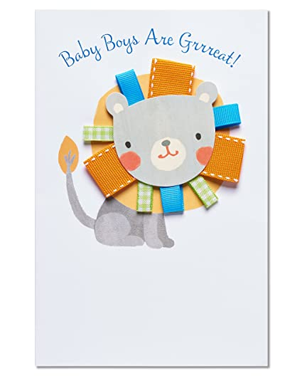 Amazon lion new baby boy congratulations card with ribbon lion new baby boy congratulations card with ribbon m4hsunfo