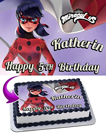 miraculous tales of ladybug cake image topper personalized icing