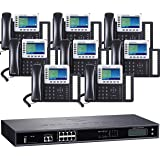 Business Phone System by Grandstream: 8 Line Ultimate Package with 8 IP Color Phones Includes Free Phone Service for 1 Year