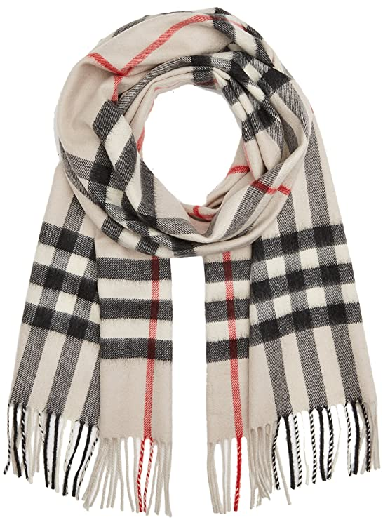 ebf190bf822e0 Burberry Womens Heritage Giant Check Scarf Stone at Amazon Women s Clothing  store