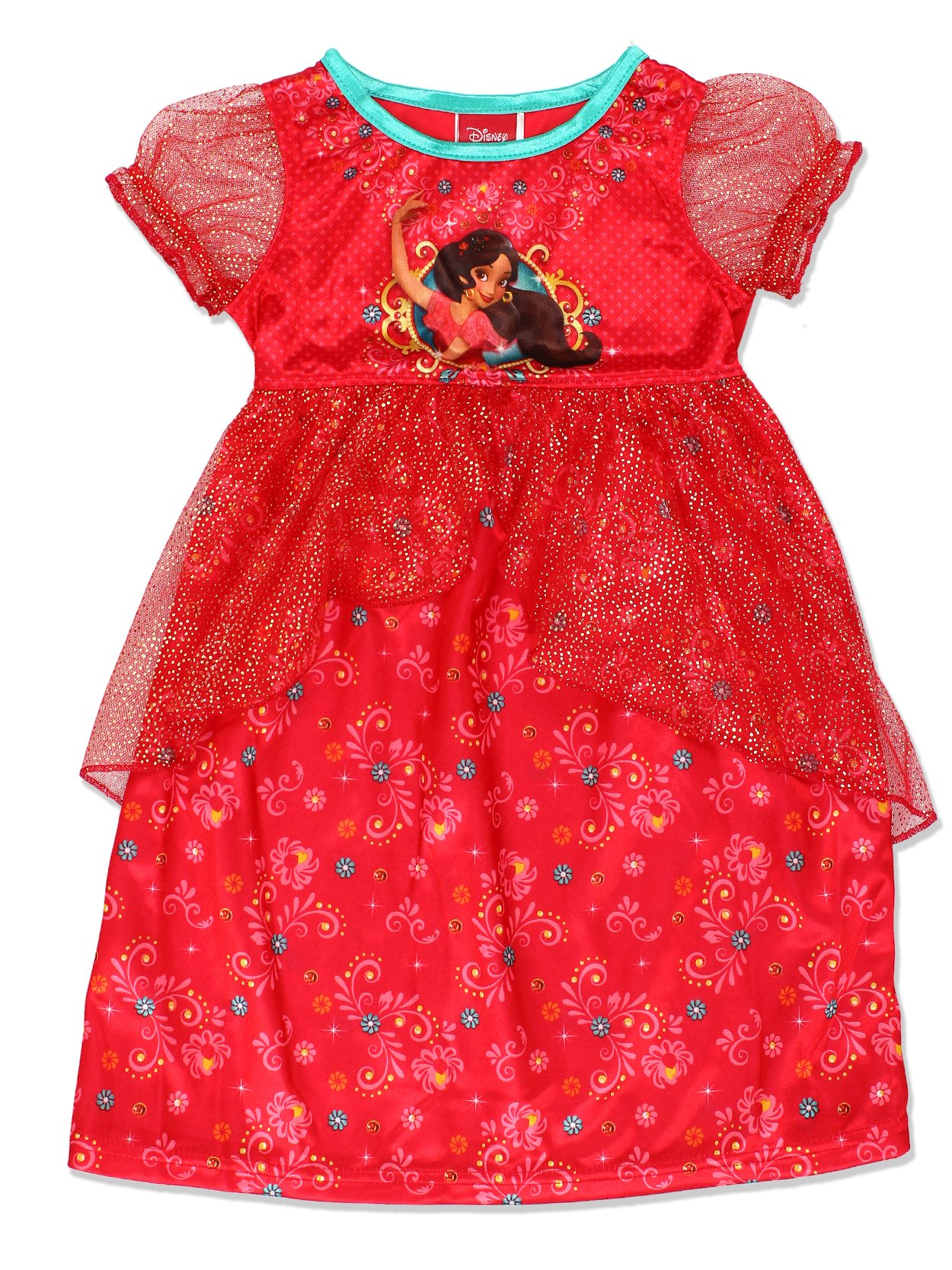 Disney Elena of Avalor Girls Fantasy Gown Nightgown Pajamas (Toddler/Little Kid/Big Kid)