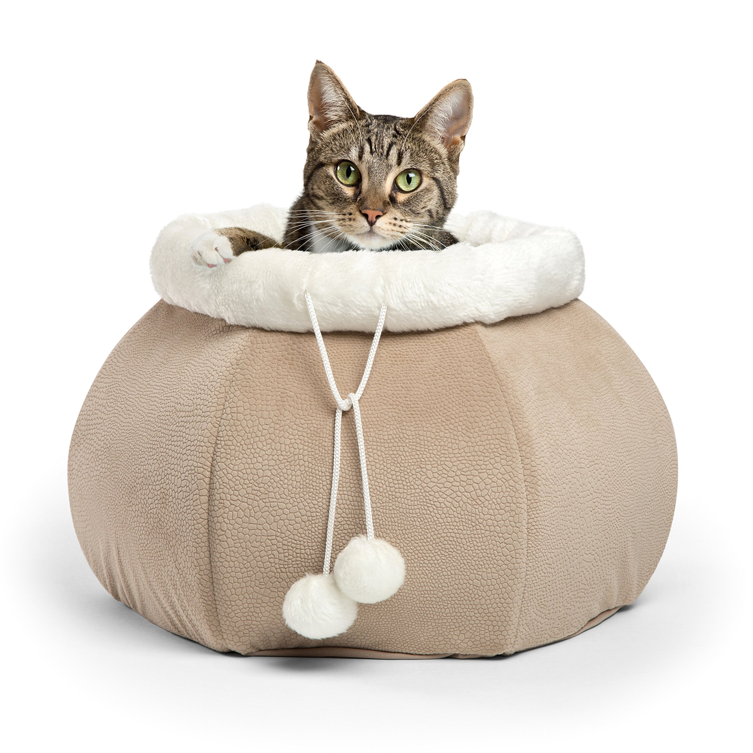Best Friends by Sheri 4-in-1 Kitty Pouch-Cuddler in Ilan, Wheat, 14''x14''x10'' by Best Friends by Sheri