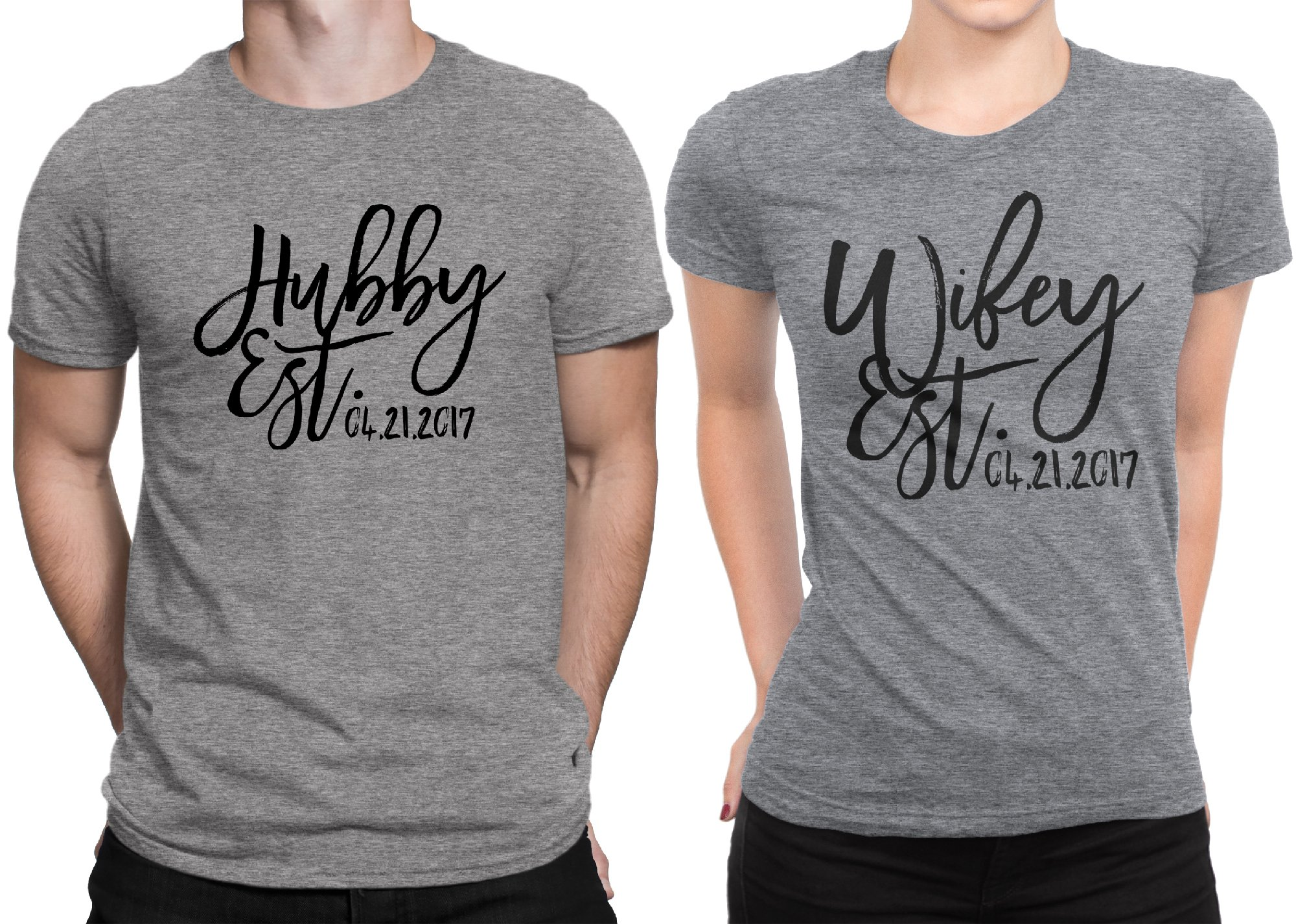 Hubby est Wifey est Wedding Date Couple Matching T-shirt Honeymoon valentines day Men Large / Women X-Large | Deep Heather - Deep Heather