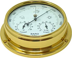 Tabic Brass Barometer with Built in Hygrometer and Thermometer, Heavy Lacquered Brass (1/2kg), Sailing Ship Yacht Boating Marine Coastal Clock, Handmade in England