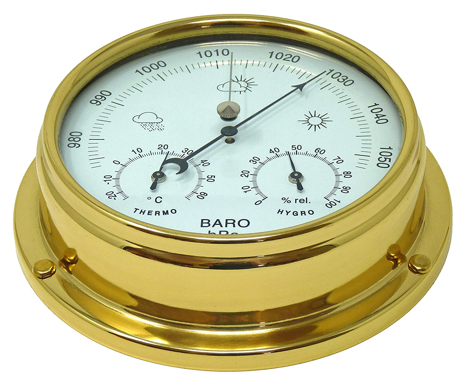 Brass Barometer with built in Hygrometer and Thermometer, Heavy Lacquered Brass (1/2kg), Sailing Ship Yacht Boating Marine Coastal Clock, Handmade In England Tabic