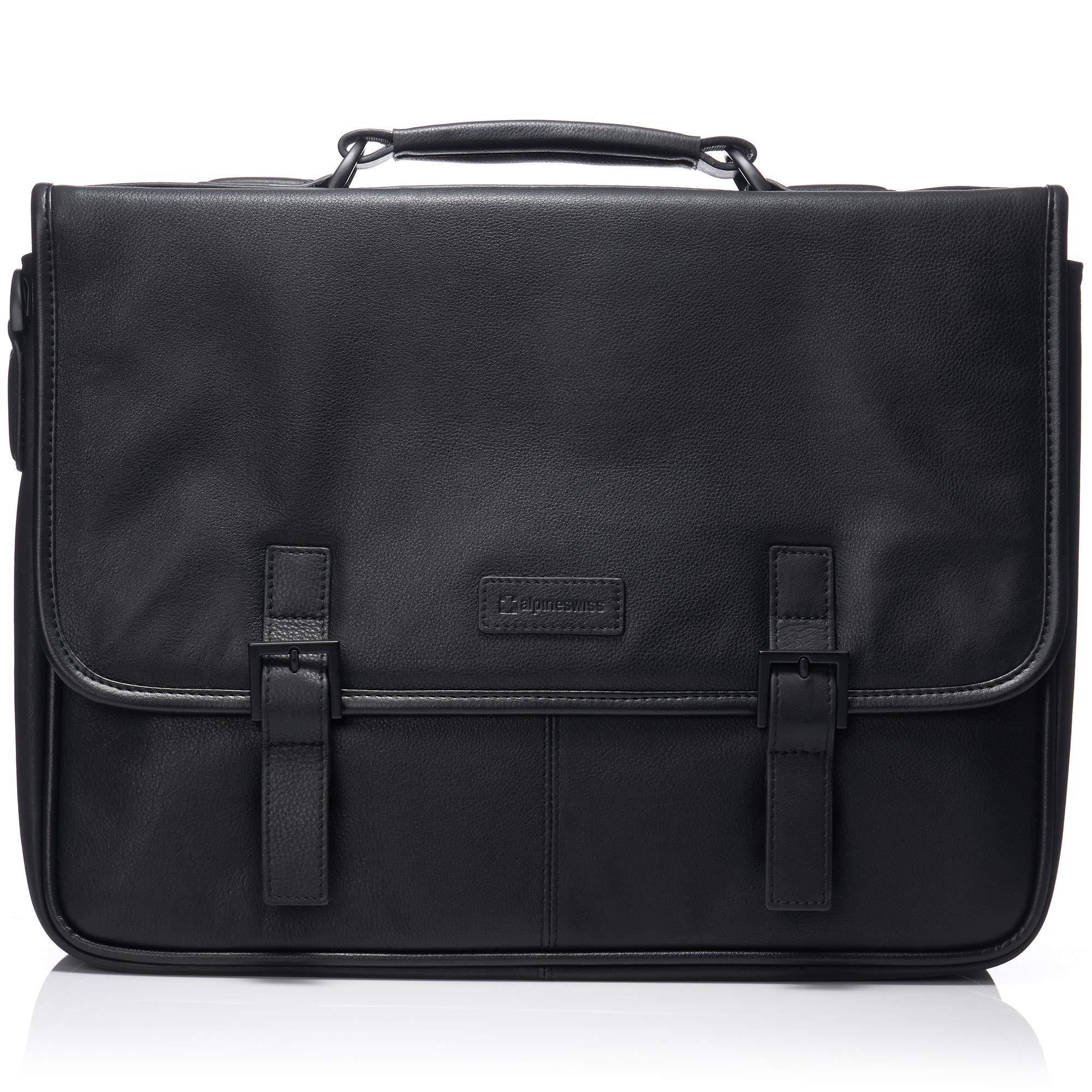 "Alpine Swiss Genuine Leather 15.6"" Laptop Briefcase Flap Over Messenger Bag BLK by alpine swiss (Image #1)"