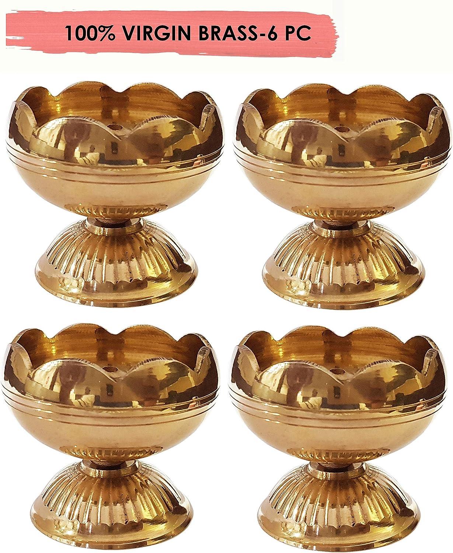 CRAFTSMAN Crafts'man (6PC) Pure Virgin Brass Diwali Puja Jyoti Diya Indian Pooja Oil Lamp Dia. Deepawali Diya/Oil Lamp/Candle Tea Light Holder/Diwali Decoration. Indian Gift Items