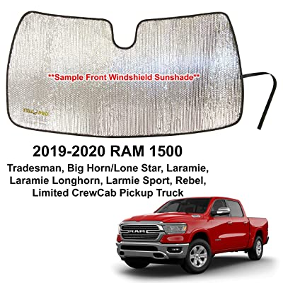 YelloPro Custom Fit Automotive Reflective Windshield Sunshade Accessories UV Reflector for 2020 2020 Dodge RAM 1500 Tradesman, Big Horn Lone Star, Laramie Longhorn Sport Rebel Limited CrewCab Pickup: Automotive