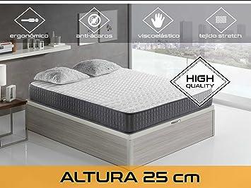 Dormi Premium Velvet 25 FM - Colchón Viscoelástico, 90 x 190 x 25 cm, Algodón/Poliuretano, Blanco/Negro, Individual: Amazon.es: Hogar
