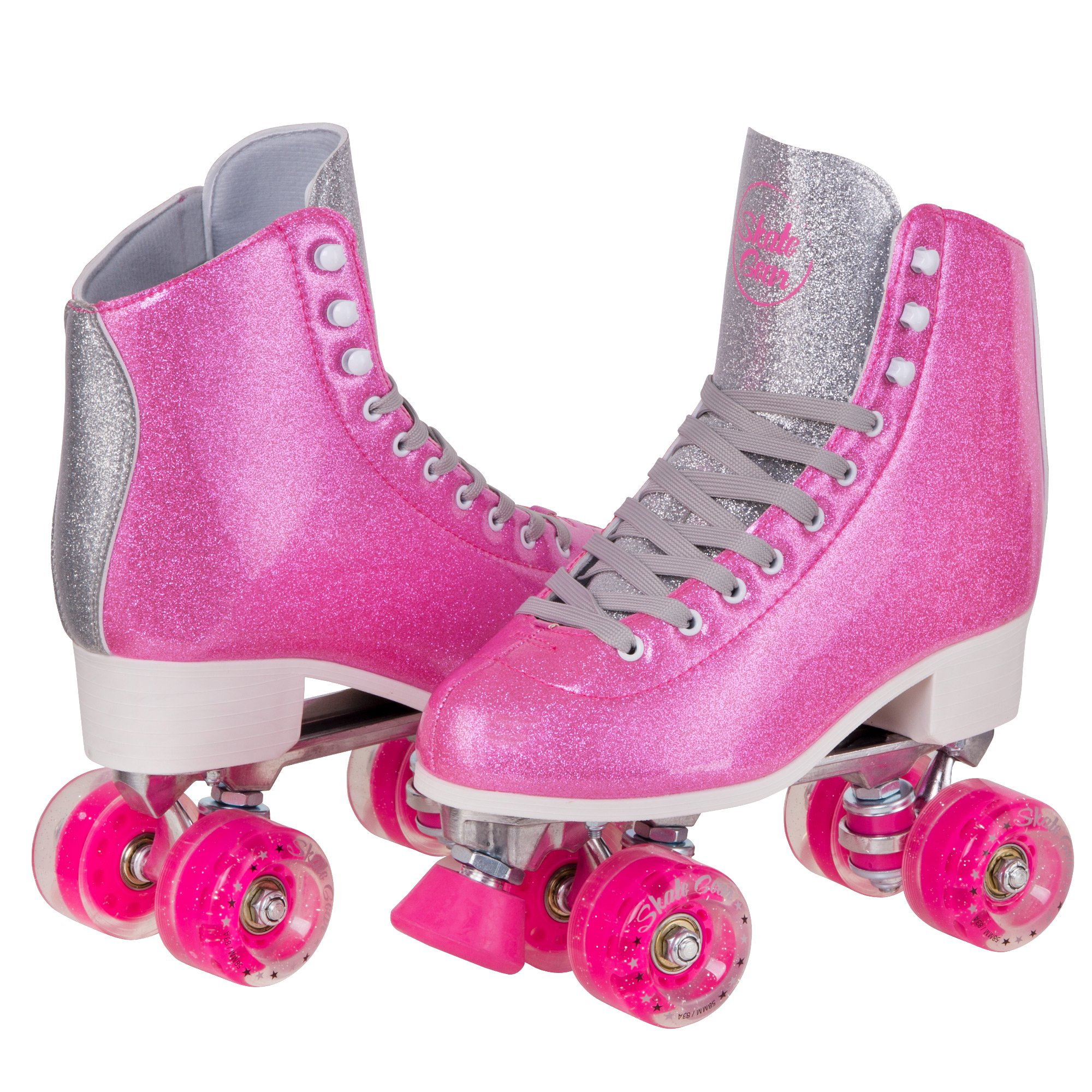 Cal 7 Sparkly Roller Skates for Indoor & Outdoor Skating, Faux Leather Quad Skate with Ankle Support & 83A PU Wheels for Kids & Adults (Pink, Youth 6 / Men's 6 / Women's 7)