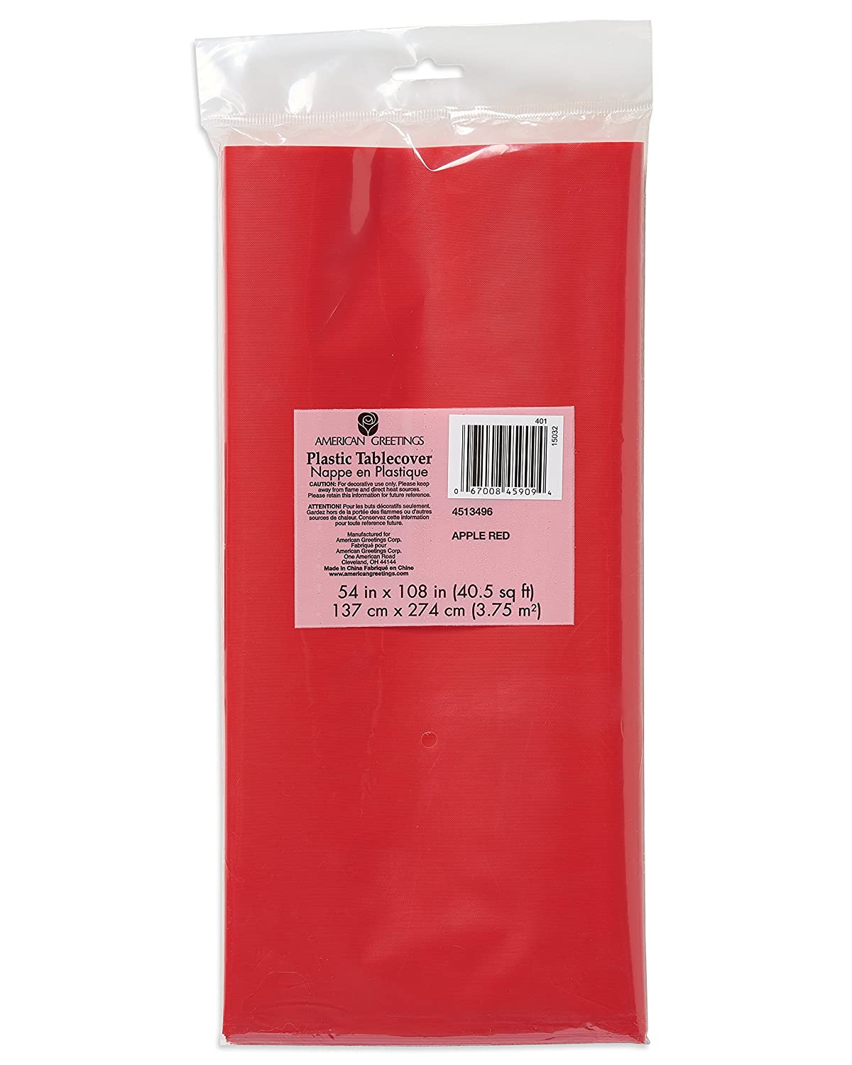 American Greetings Plastic Table Cover 54 X 108 Bright Red 54 X