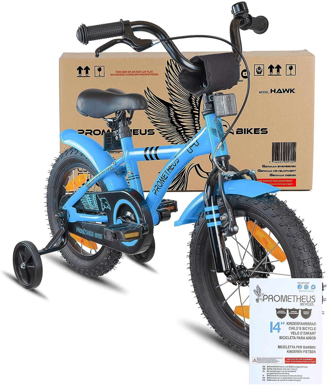 Prometheus Bicicleta Infantil | 14 Pulgadas | niño y niña | Azul Negro | A Partir de 4 años | con ruedines y Freno de contrapedal | 14