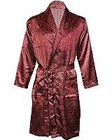 OCTAVE® Mens Luxury Summer Printed Satin Kimono Wrap / Robe / Dressing Gown