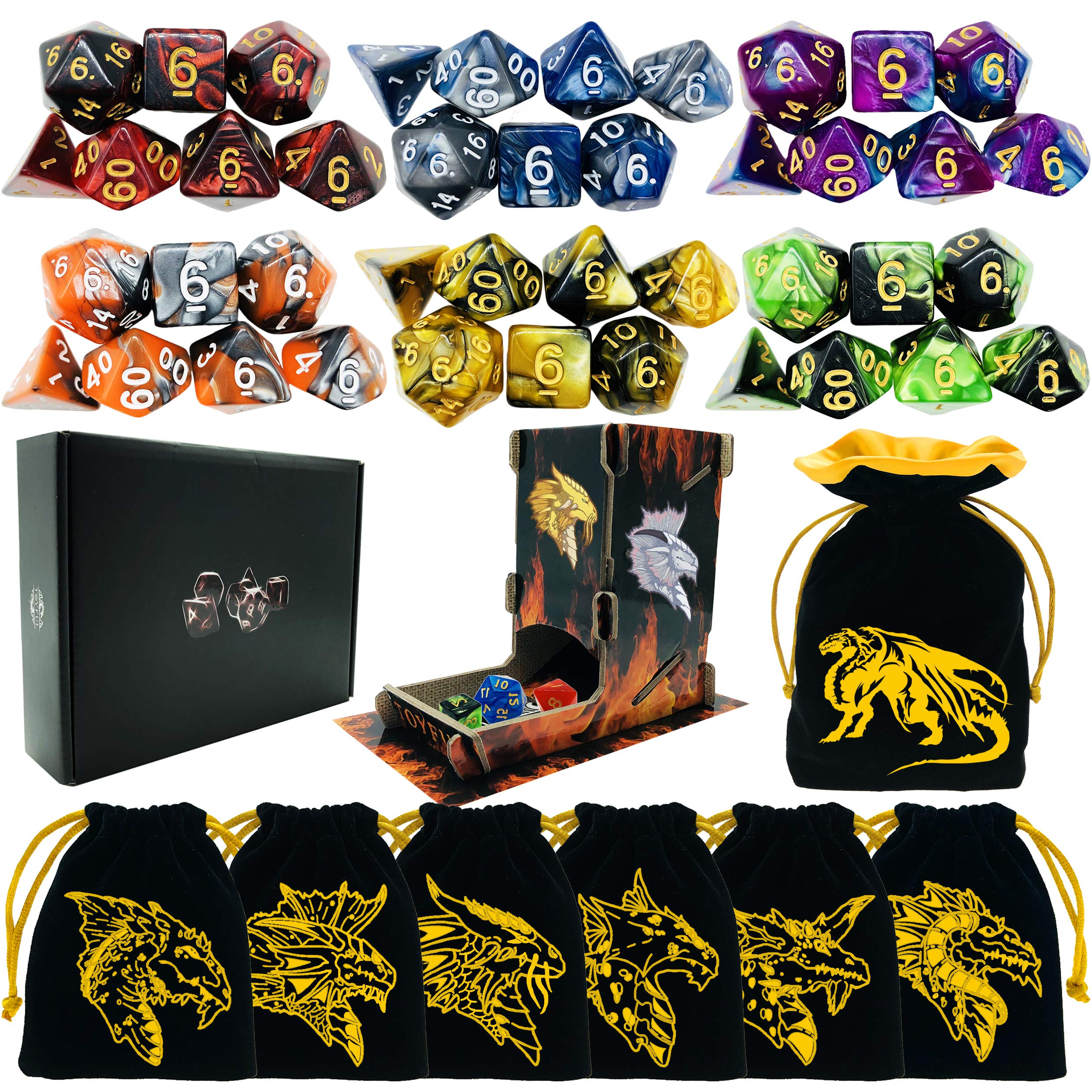 TOYFUL 6 Sets Double-Colors Dnd Dice Polyhedral Dungeons and Dragons DND RPG MTG Table Game Dice Bulk with Seven FREE Drawstring Bags and D&D Dice Tower Gift Package Black by TOYFUL