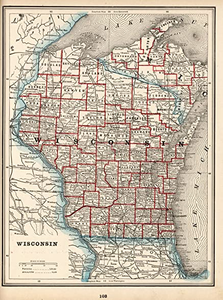 Amazon world atlas map wisconsin 1893 historic antique world atlas map wisconsin 1893 historic antique vintage map reprint gumiabroncs Images