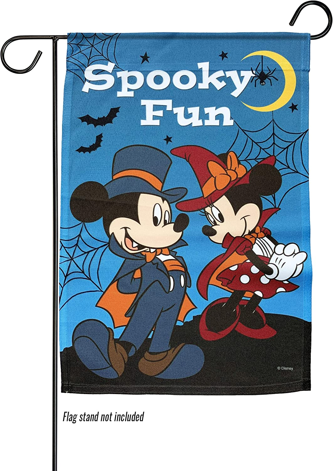 The Galway Company Halloween, Disney, Flag, Mickey and Minnie Spooky Fun Garden Flag, Size 12 Inches by 18 Inches, Flag Stand not Included.