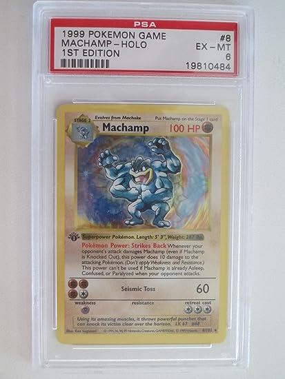 Amazon com: Machamp Rare Holo 8/102 PSA 6 Pokemon Base Set